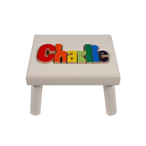 Primary White Name Stool (UP TO 8 LETTERS)