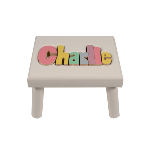 Pastel White Name Stool (UP TO 8 LETTERS)