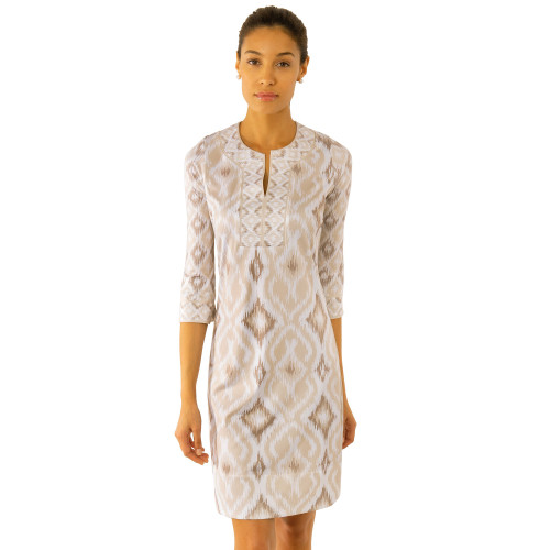 Jersey Split Neck Dress- khaki ikat