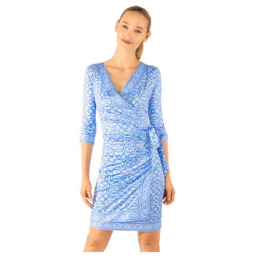 Jersey Wrap It Up Dress- Rio Gio Periwinkle