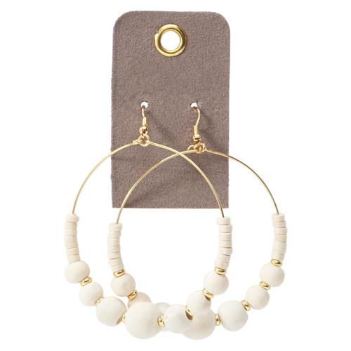 Natural Wooden Bead Hoop Earrings