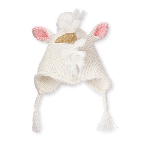 Ivory Unicorn Knit Hat