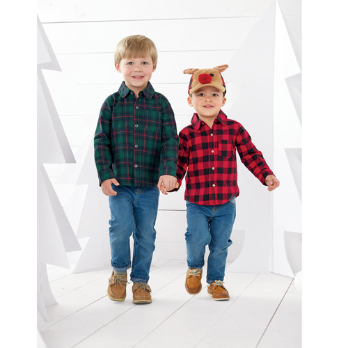 Reindeer Buffalo Check Toddler Hat