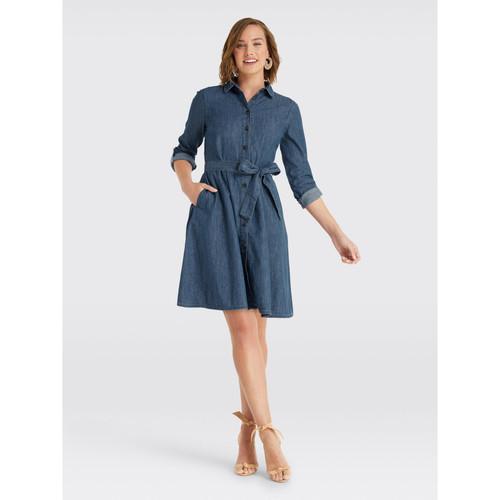Chambray Shirtdress- Medium Wash