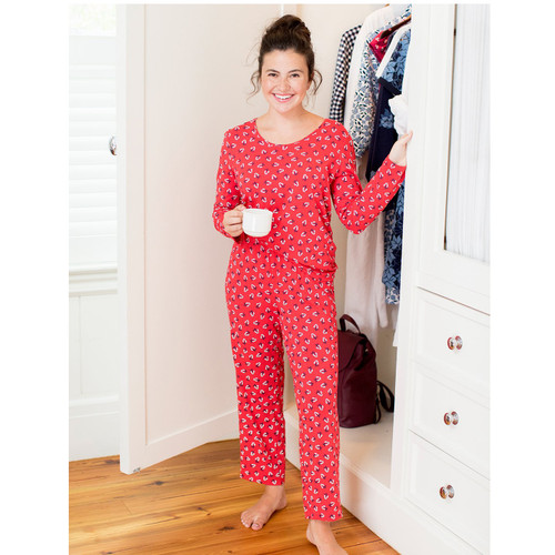 Long Sleeve Floral Lipstick Red PJ Set