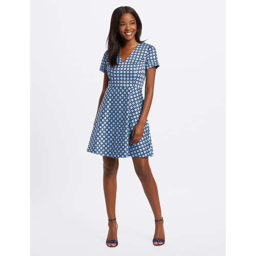 Mix Dot A-Line Blue Multi Dress