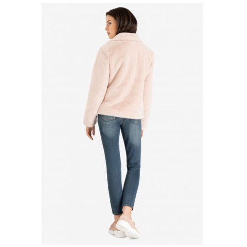 Blush Faux Fur Coat w/ Pockets