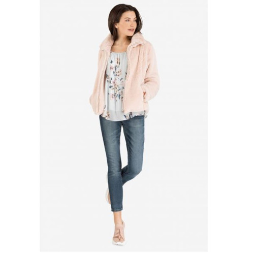 Blush Faux Fur Coat w/ Pockets
