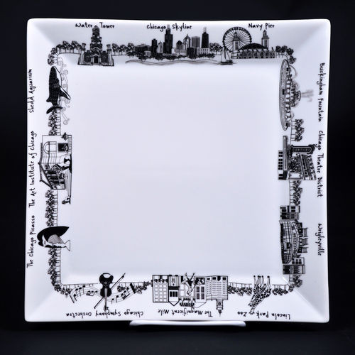 7 inch Chicago Small Square Plate