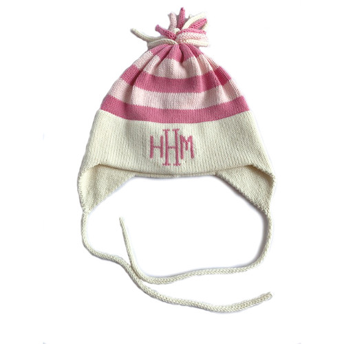 Natural/Pink Personalized Stripe Hat