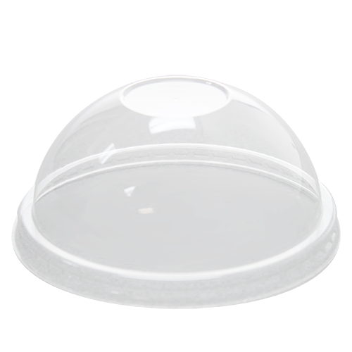 100mm Rim PET Food Container Dome Lid No Hole 1000ct