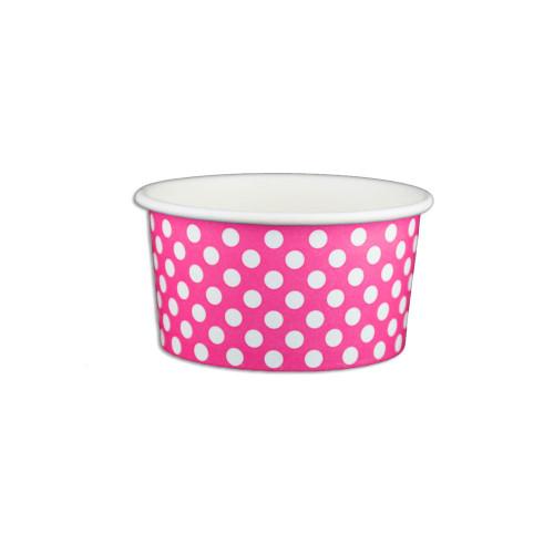 6oz Ice Cream/Froyo Cups 96mm 1000ct Pink Polka Dot
