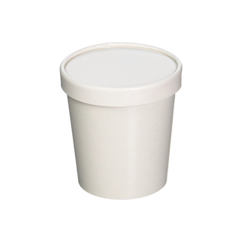 16oz White Paper Ice Cream Pint Container w/ Non vented Lid 250ct
