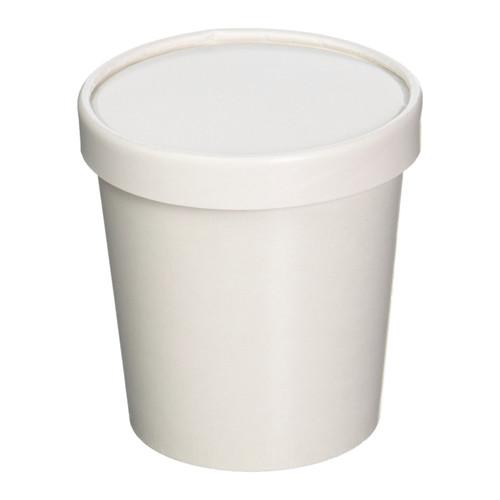 32oz White Paper Ice Cream Quart Container w/ Non Vented Lid 250ct