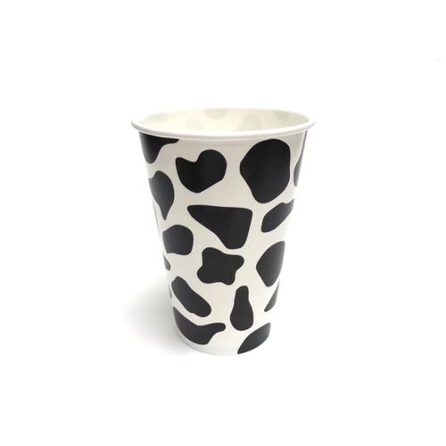 12oz Cow Print Paper Milkshake Drink Cups 90mm 1000ct