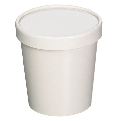 16oz White Paper Ice Cream Pint, Container ONLY (lids sold separately) 1000 Count