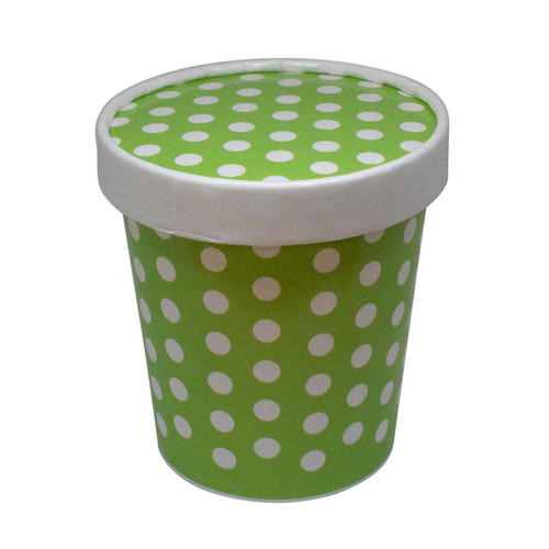 16oz Green Polka Dot PINT containers with non-vented lids MADE IN THE USA