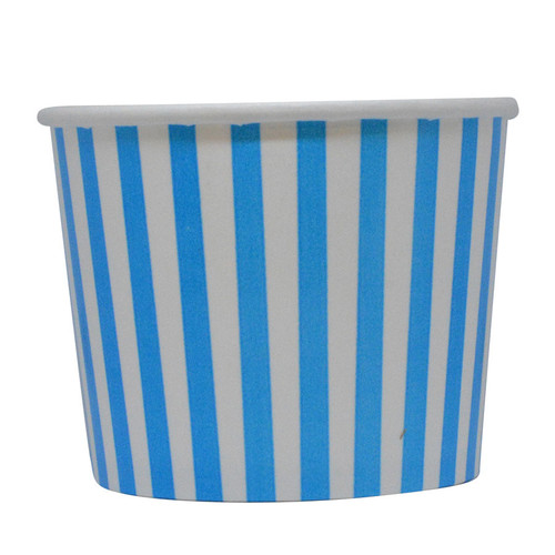 12oz Blue Stripes Ice Cream Cups - Made In The USA