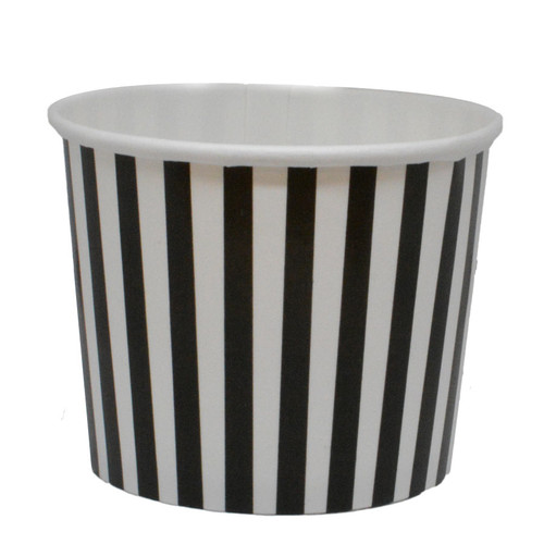 12oz Black Stripes Ice Cream Cups - Made In The USA