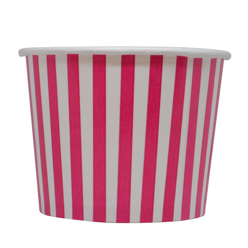 12oz Pink Stripes Ice Cream Cups - Made In The USA