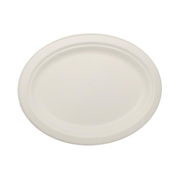 "Karat 10""x8"" Compostable Bagasse Oval Plate 500ct"