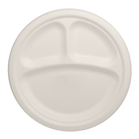 """Karat 9"""" Compostable Round 3-Section Plate 500ct"""
