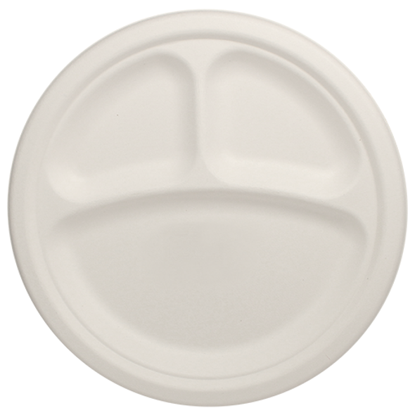 "Karat 10"" Compostable Round 3-Section Plate 500ct"
