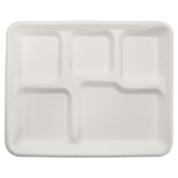 """Karat 10""""x8"""" Bagasse 5-Section Food Tray 500ct"""