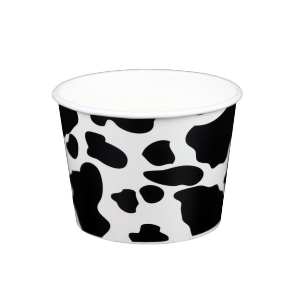 12oz Dairy Cow Print Ice Cream/Froyo Cups 100mm 1000ct