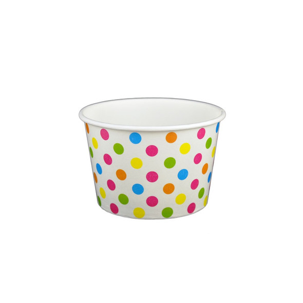 8oz Ice Cream/Froyo Cups 96mm 1000ct White/Multicolor Polka Dot