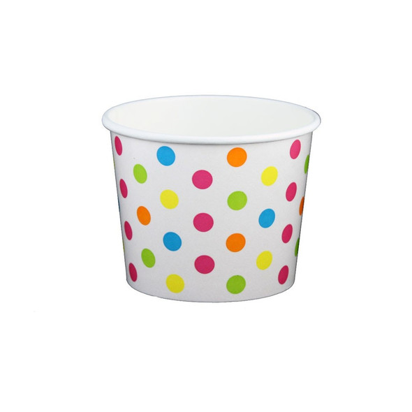 12oz Ice Cream/Froyo Cups 100mm 1000ct White/Multicolor Polka Dot | Ideal for ice cream shops, froyo, boba, gelato shops and also restaurants.