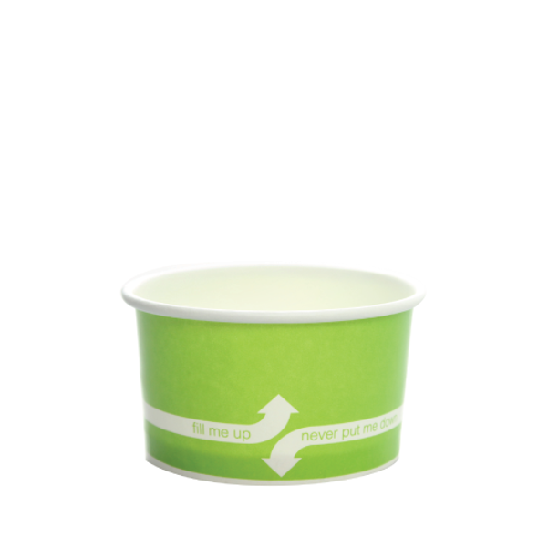 """5oz Food Containers Green 87mm 1000ct """"fill me up, never put me down"""""""