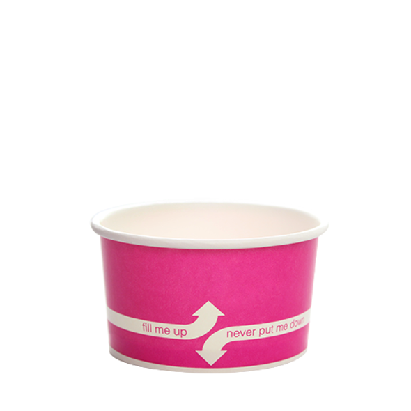 """5oz Food Containers Pink 87mm 1000ct """"fill me up, never put me down"""""""