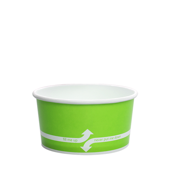 """6oz Food Containers Green 96mm 1000ct """"fill me up, never put me down"""""""