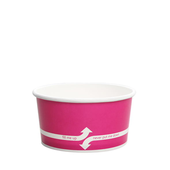 """6oz Food Containers Pink 96mm 1000ct """"fill me up, never put me down"""""""
