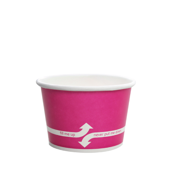 """8oz Food Containers Pink 95mm 1000ct """"fill me up, never put me down"""""""