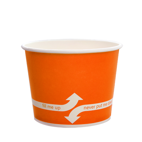 "12oz Food Containers Orange 100mm 1000ct ""fill me up, never put me down"""