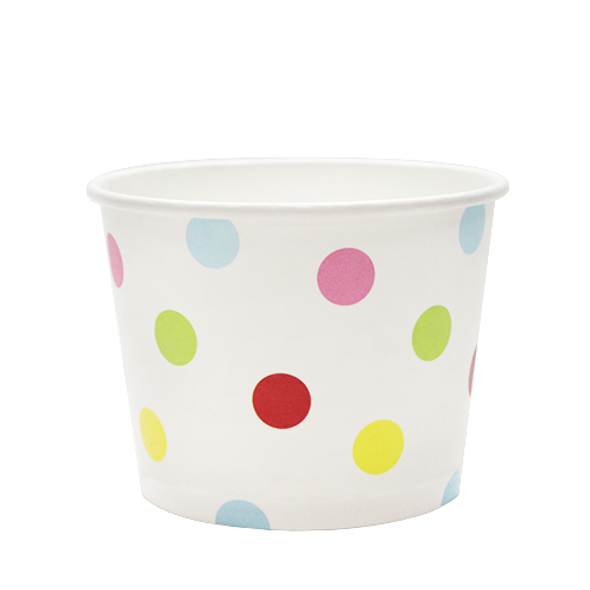 12oz Food Containers 100mm 1000ct White/Multicolor Polka Dot