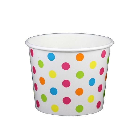 16oz Ice Cream/Froyo Cups 112mm 1000ct White/Multicolor Polka Dot