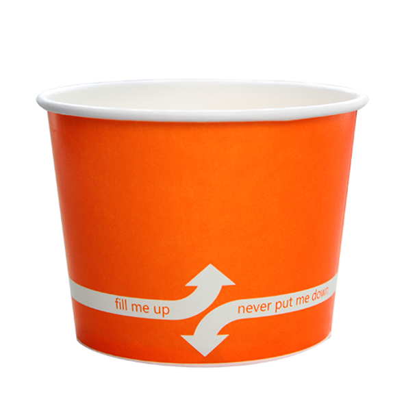 """16oz Food Containers Orange 112mm 1000ct """"fill me up, never put me down"""""""