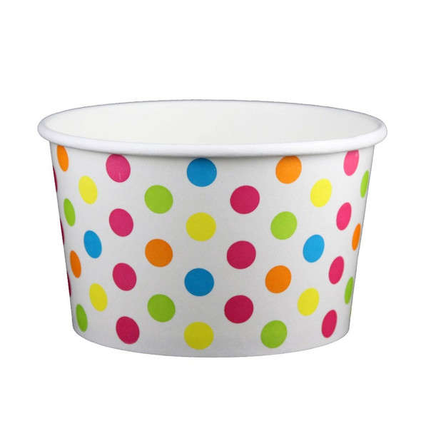 20oz  Ice Cream/Froyo Cups 127mm 600ct White/Multicolor Polka Dot