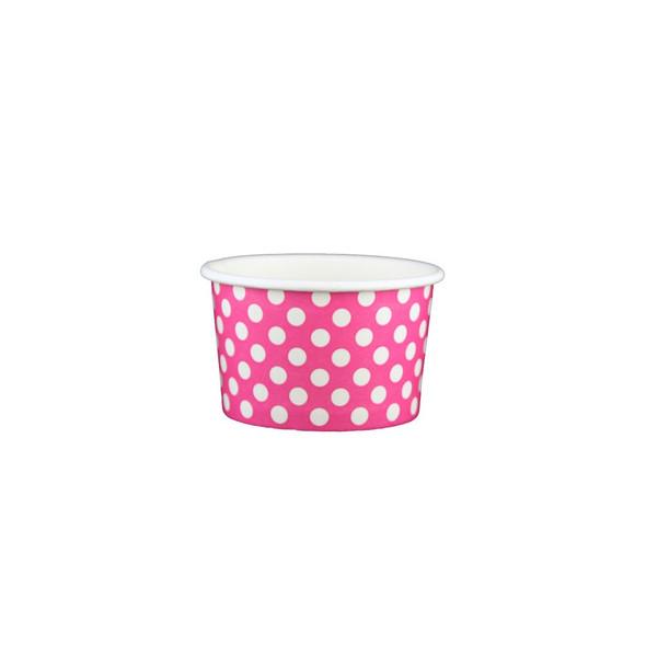 4oz Ice Cream/Froyo Cups 76mm 1000ct Pink Polka Dot