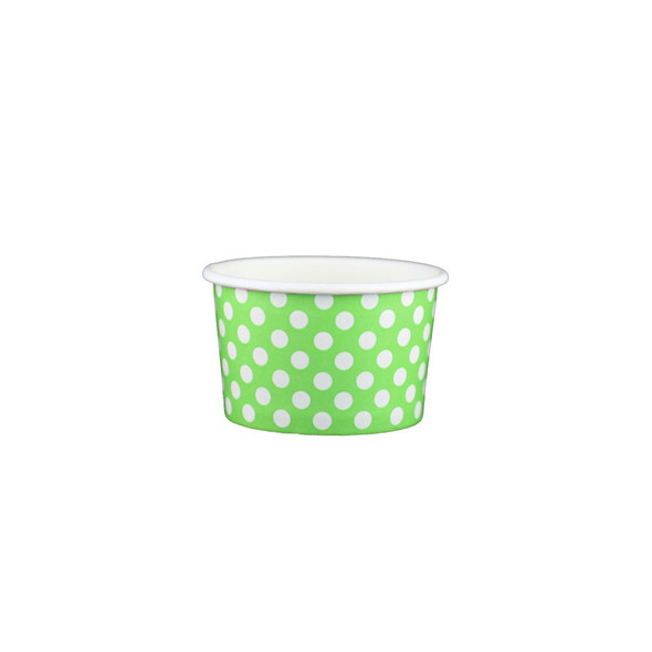 4oz Ice Cream/Froyo Cups 76mm 1000ct Green Polka Dot