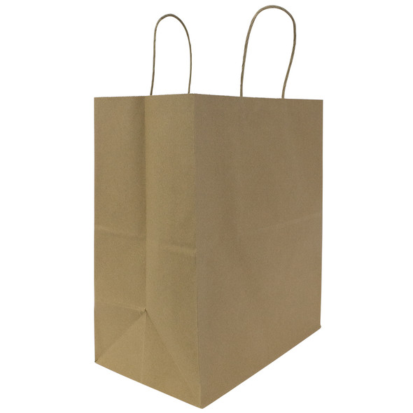 "Karat Malibu Large Paper Shopping Bag Kraft 250ct 12.2""Wx14""Hx7.5""G BACK-ORDERED"