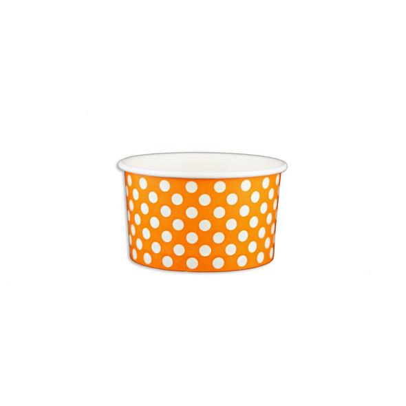 5oz Ice Cream/Froyo Cups 87mm 1000ct Orange Polka Dot