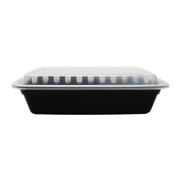 28oz Microwavable Food Container & Lid Black 150ct