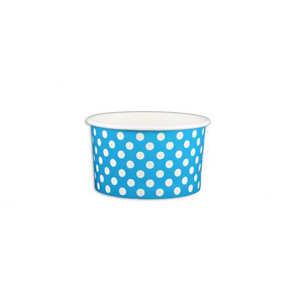 5oz Ice Cream/Froyo Cups 87mm 1000ct Blue Polka Dot