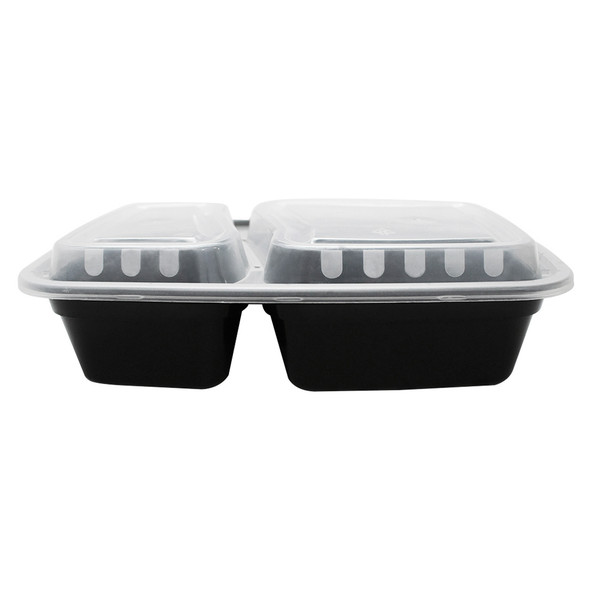 30oz Microwavable Food Container & Lid Black 150ct