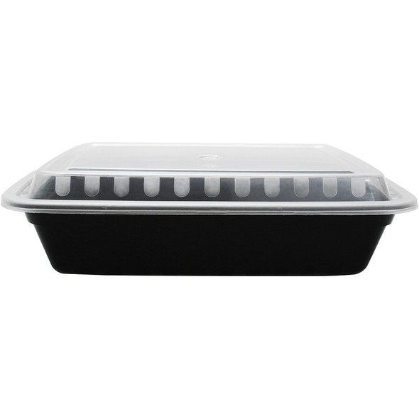 38oz Microwavable Food Container & Lid Black 150ct
