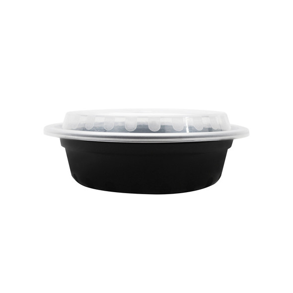 16oz Microwavable Food Container & Lid Black 150ct